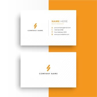 Cartão de visita limpo laranja e branco vetor grátis
