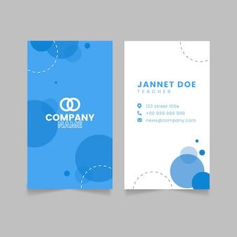 Cartão de visita linear, plano e frente e verso vertical