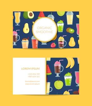 Cartão de visita liso dos elementos do smoothie