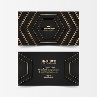 Cartão de visita luxuoso com formas douradas