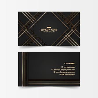 Cartão de visita luxuoso com linhas douradas