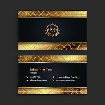 Cartão de visita luxuoso do preto & do ouro
