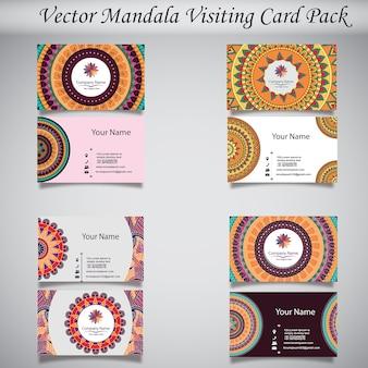 Cartão de visita mandala colorido desenhado à mão
