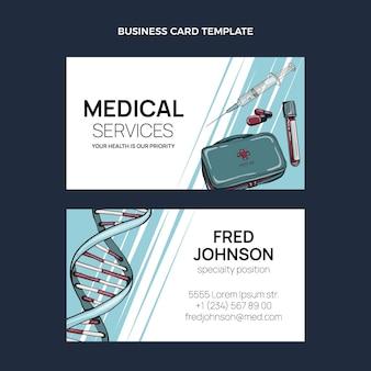 Cartão de visita médico desenhado à mão horizontal