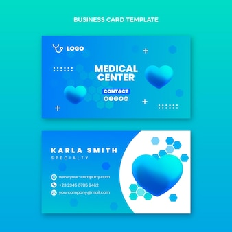 Cartão de visita médico gradiente horizontal