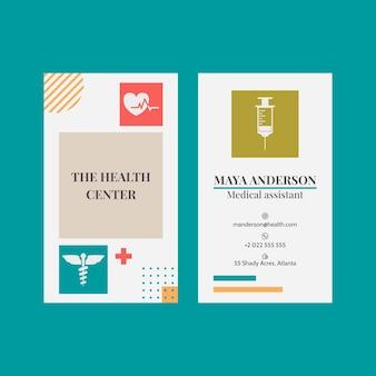 Cartão de visita médico plano vertical