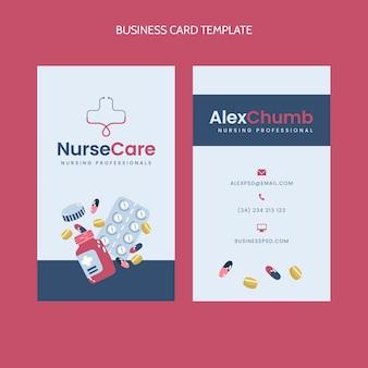 Cartão de visita médico vertical de design plano