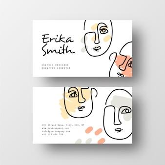 Cartão de visita minimalista com faces desenhadas a uma linha