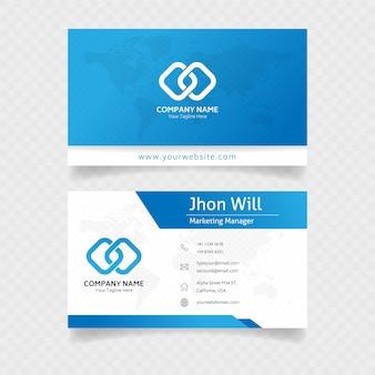 Cartão de visita minimalista em cores azuis
