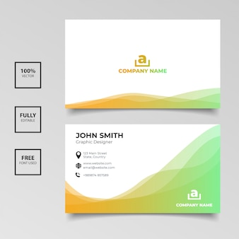 Cartão de visita minimalista. gradiente de cor laranja e verde horizontal modelo simples de limpeza vector design
