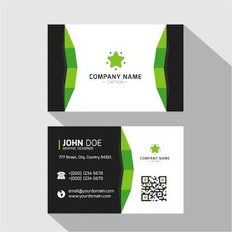 Cartão de visita minimalista verde de design plano