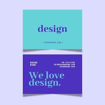 Cartão de visita mínimo colorido do pacote do modelo