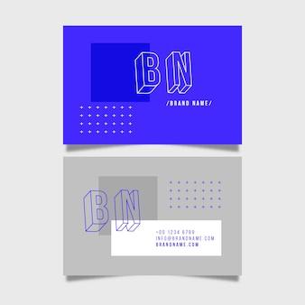 Cartão de visita mínimo com azul e cinza