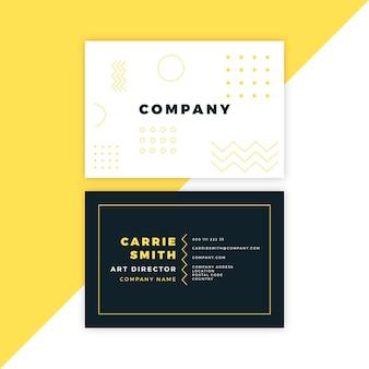 Cartão de visita mínimo com elementos de memphis