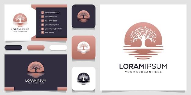 Cartão de visita modelo de logotipo de árvore abstrata