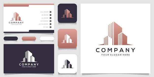 Cartão de visita modelo de logotipo de imóveis modernos