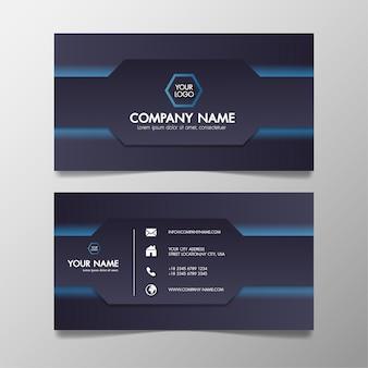 Cartão de visita moderno azul e preto modelo criativo e limpo.