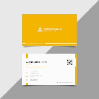 Cartão de visita moderno branco e amarelo elegante profissional