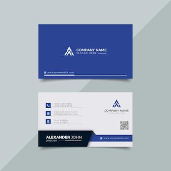 Cartão de visita moderno branco e azul elegante profissional