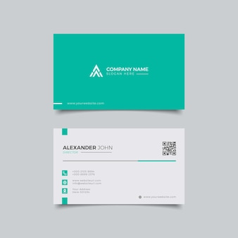 Cartão de visita moderno branco e verde elegante profissional