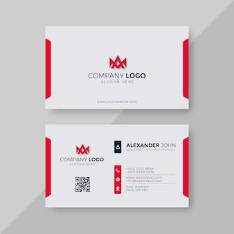 Cartão de visita moderno branco e vermelho elegante profissional
