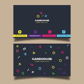 Cartão de visita moderno com elementes coloridos