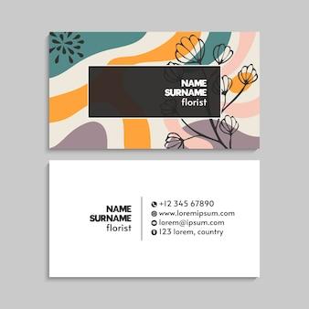 Cartão de visita moderno com flores.