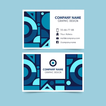 Cartão de visita moderno com formas geométricas azuis clássicas
