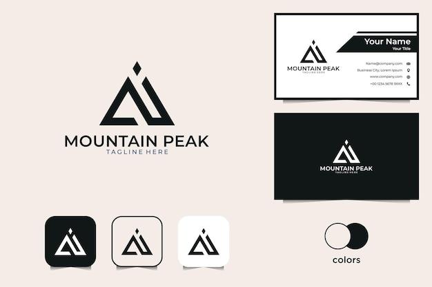 Cartão de visita moderno com logotipo do pico da montanha
