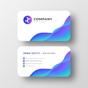 Cartão de visita moderno com ondas abstratas