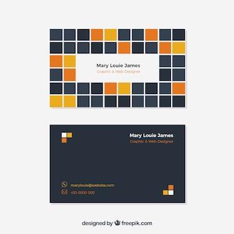 Cartão de visita moderno com quadrados coloridos