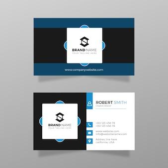 Cartão de visita moderno com vetor de modelo de cor azul