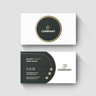 Cartão de visita moderno conceito de design de onda de ouro
