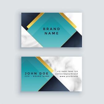 Cartão de visita moderno da empresa no design de cartão de visita de mármore