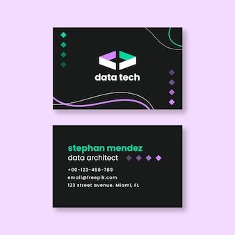 Cartão de visita moderno de arquiteto de dados abstrato