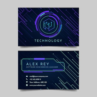 Cartão de visita moderno e futurista de tecnologia para gerente de engenharia de software