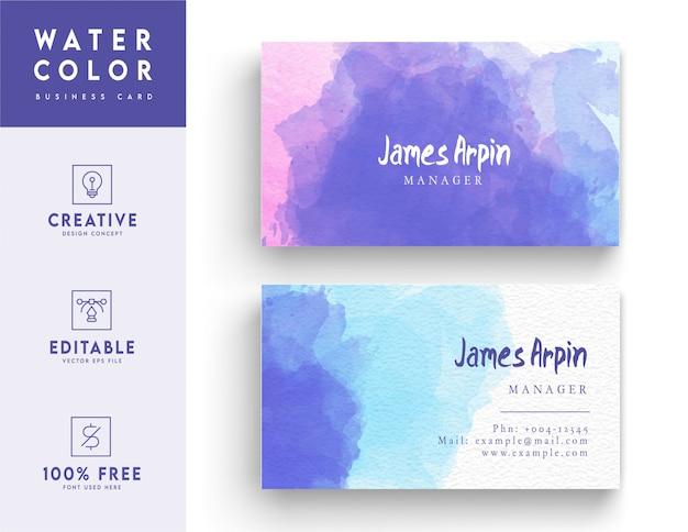 Cartão de visita moderno em aquarela - design de carteira de identidade