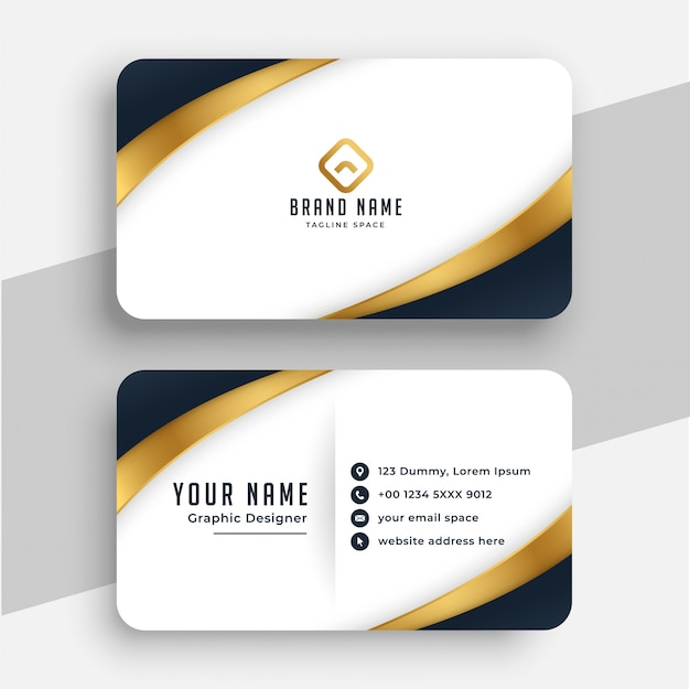 Cartão de visita moderno em estilo dourado