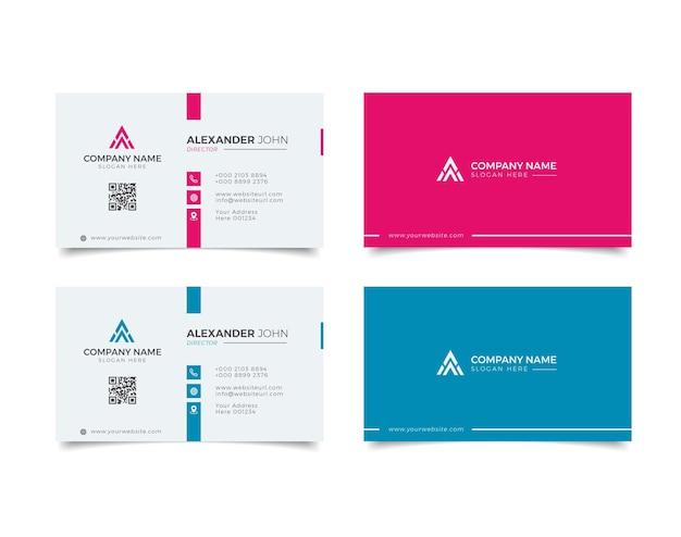 Cartão de visita moderno junco branco e azul elegante profissional