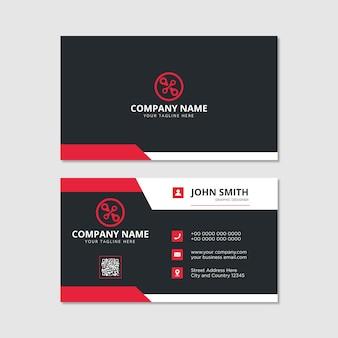 Cartão de visita moderno preto com detalhes em vermelho e branco design elegante modelo profissional