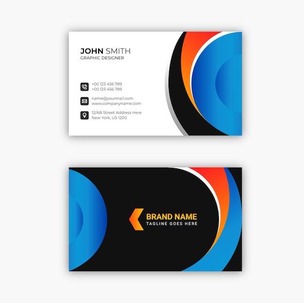 Cartão de visita moderno preto e azul elegante profissional premium vector