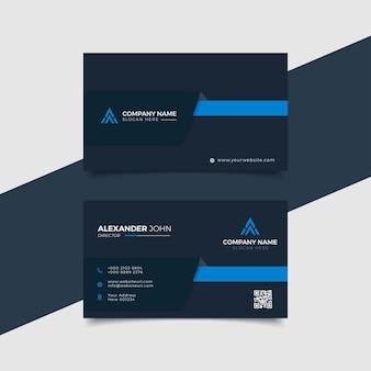 Cartão de visita moderno preto e azul elegante profissional