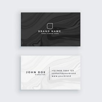 Cartão de visita moderno preto e branco com textura de mármore