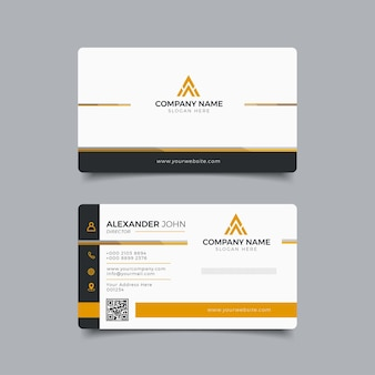 Cartão de visita moderno preto e laranja elegante profissional