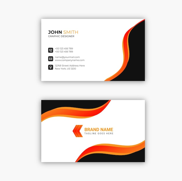 Cartão de visita moderno preto e laranja elegante vetor premium profissional