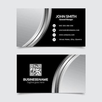 Cartão de visita moderno, preto e prata