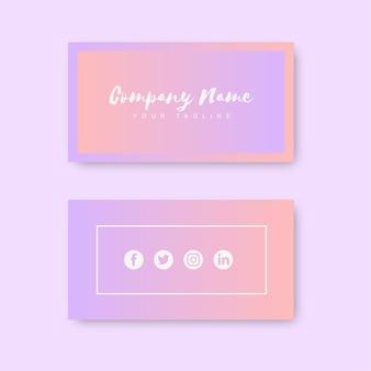 Cartão de visita moderno rosa e laranja