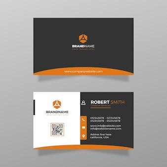 Cartão de visita moderno simples com vetor de modelo de cor laranja