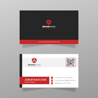 Cartão de visita moderno simples com vetor de modelo de cor vermelha