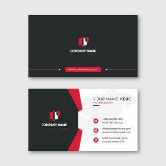 Cartão de visita moderno vermelho e preto com forma